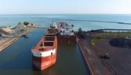 Iron ore pellet ship-to-ship transfer operation, MV Atlantic Huron and MV CSL Tadoussac, Conneaut, Ohio